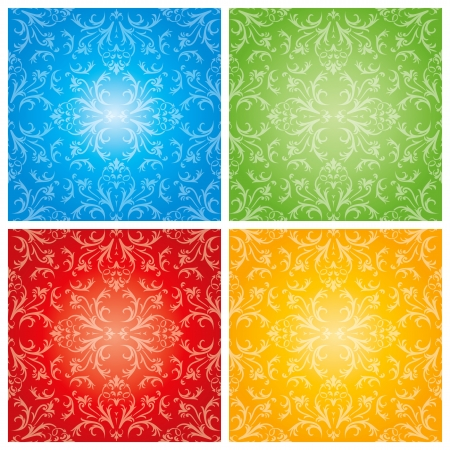 Abstract flowers with four season background   Vector