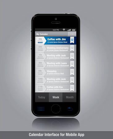 calendari: Smartphone con modello di elenco di attivit� per le applicazioni mobili