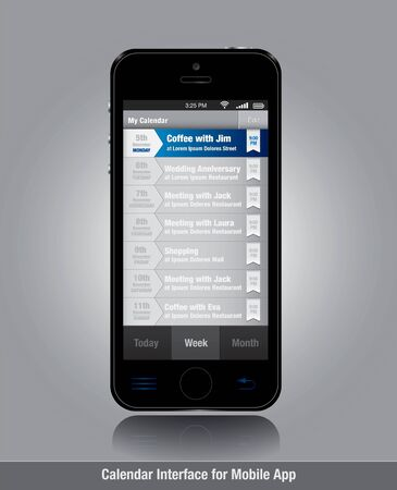 Smartphone with tasks list template for mobile apps
