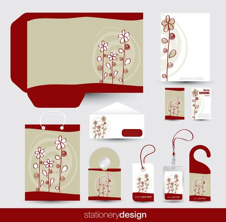 cd label: Stationery design set in editable vector format Illustration