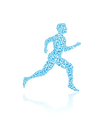 recovery: Jogging human silhouette in vector format for medical concepts
