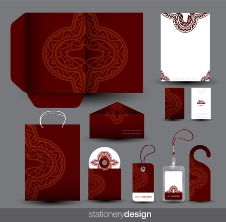 Stationery set design with ancient ornaments  Vector