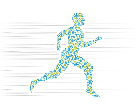 Human body running in scientific presentation Vector