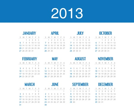 Simple calendar design for 2013 Stock Vector - 16439179