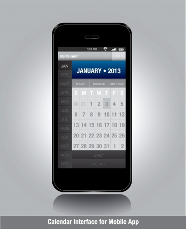 Smartphone with calendar template for mobile apps  Vector