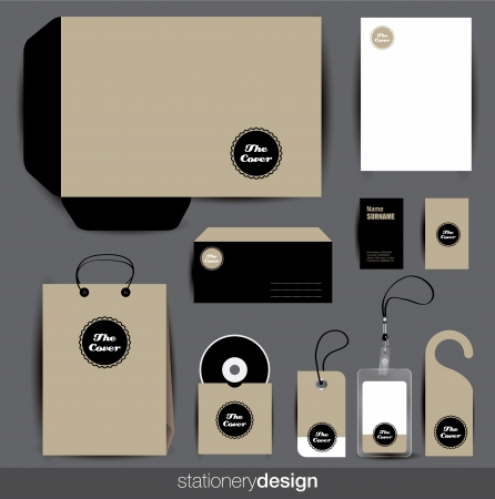 stationary: Stationery design set in editable vector format Illustration