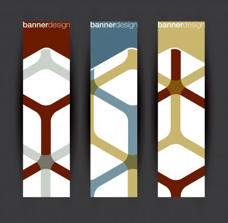 hexagone: Vertical banner elements in editable vector format