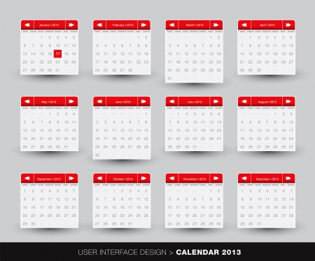 2013 monthly Calendar design for mobile phone in editable Stock Vector - 16824158