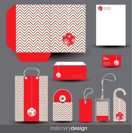 Christmas stationery design set in editable format Vector