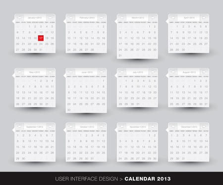 monthly: 2013 monthly Calendar design for mobile phone in editable