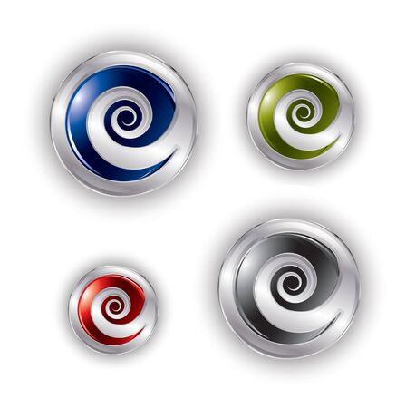 Abstract spiral buttons in editable format Vector