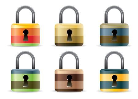 guard box: Colored Padlock set in editable format Illustration