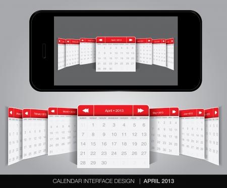 Calendar interface concept in editable vector format. Stock Vector - 20002116