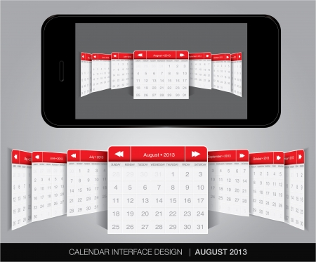 Calendar interface concept in editable vector format. Stock Vector - 20002108