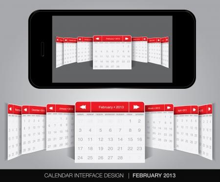 Calendar interface concept in editable vector format. Stock Vector - 20010871