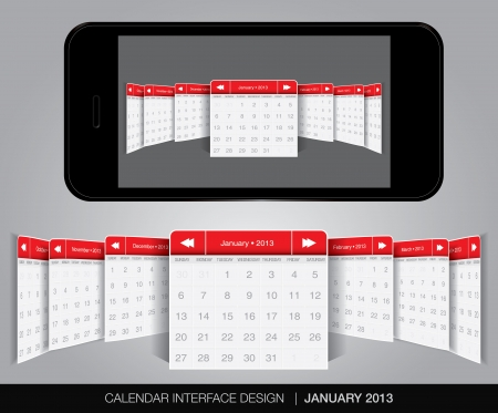 Calendar interface concept in editable vector format.