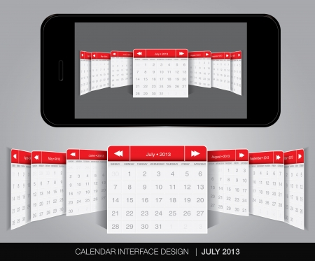 Calendar interface concept in editable vector format. Vector