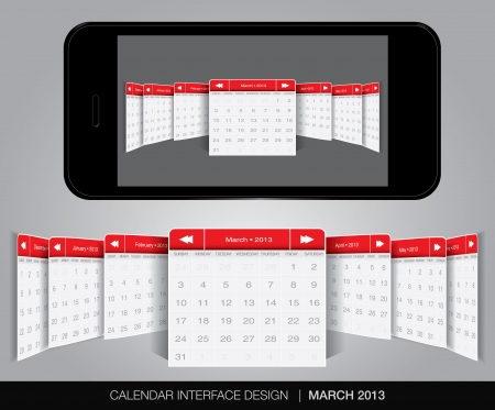 Calendar interface concept in editable vector format. Stock Vector - 20010880