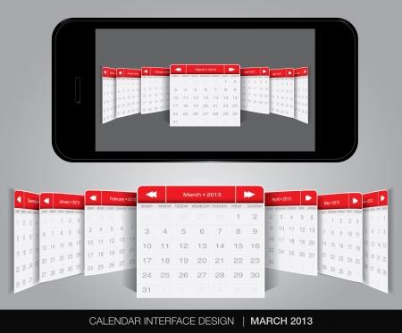 Calendar interface concept in editable vector format. Stock Vector - 20010880
