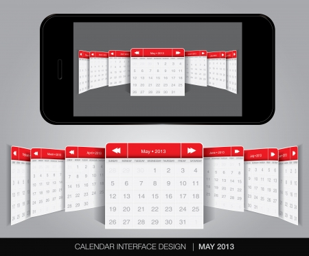 Calendar interface concept in editable vector format. Stock Vector - 20010878
