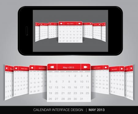 Calendar interface concept in editable vector format. Stock Vector - 20010878