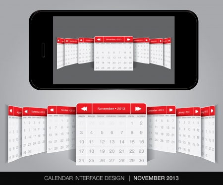 Calendar interface concept in editable vector format. Stock Vector - 20002109