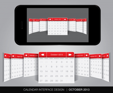 Calendar interface concept in editable vector format. Stock Vector - 20010876