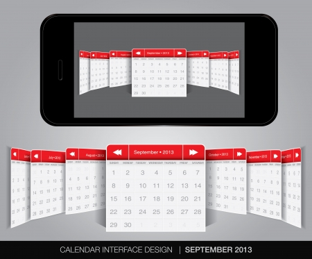 Calendar interface concept in editable vector format. Stock Vector - 20010879