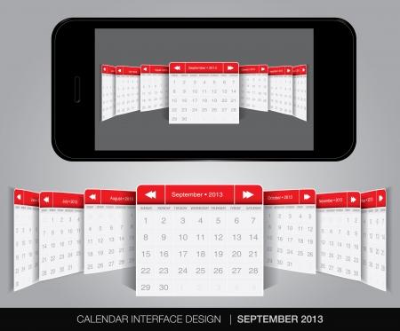 Calendar interface concept in editable vector format. Stock Vector - 20010879