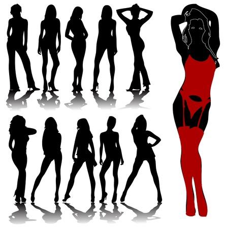 modelo desnuda: Siluetas atractivas de la mujer en formato vectorial editable