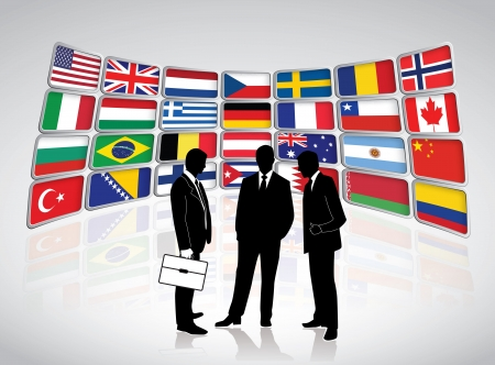 Business meeting against huge LCD display with country flags Stock Vector - 20678993