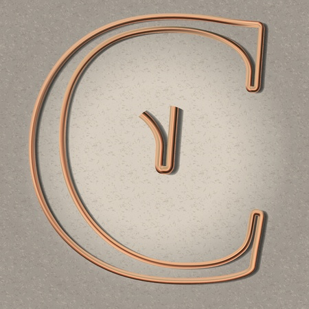 copper pipe: Copper pipe letter C for steam punk illustrations