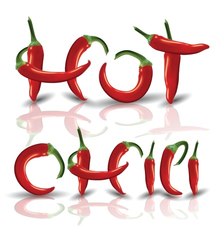 Hot red Chilies with reflection Illustration