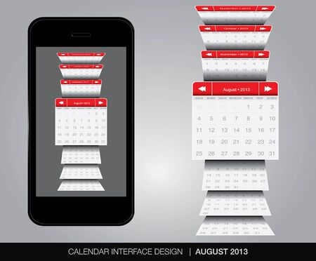 august calendar: Agosto concepto de interfaz de Calendario