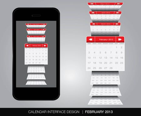 February Calendar interface concept Illustration