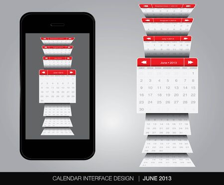 June Calendar interface concept Stock Vector - 20678896
