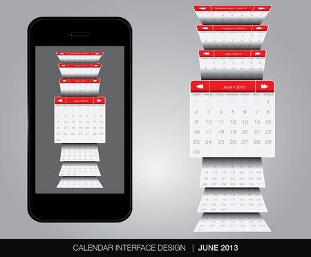 June Calendar interface concept Stock Vector - 20678896