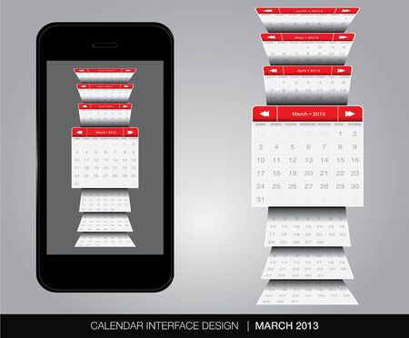 March Calendar interface concept Vector