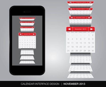 November calendar interface concept Stock Vector - 20678893
