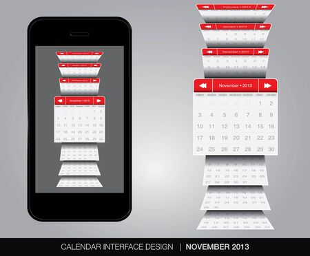 november calendar: November calendar interface concept