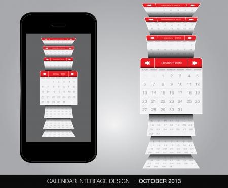October Calendar interface concept Stock Vector - 20678894