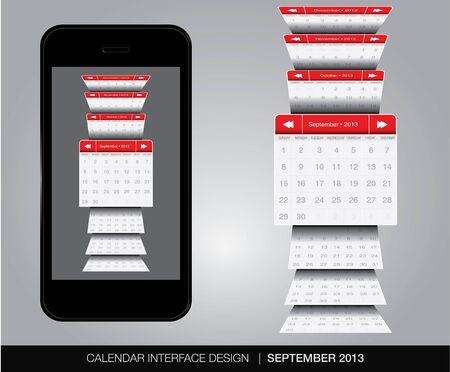 calendario septiembre: Septiembre concepto de interfaz de Calendario