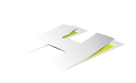 paper folding: Paper folding with letter H in perspective view