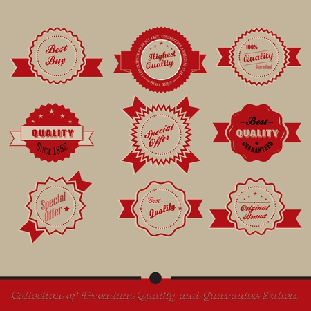Collection of Premium Quality and Guarantee Labels with retro vintage styled design  Stock Vector - 20678828