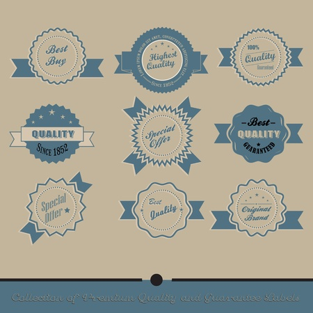 Collection of Premium Quality and Guarantee Labels with retro vintage styled design Stock Vector - 20678829