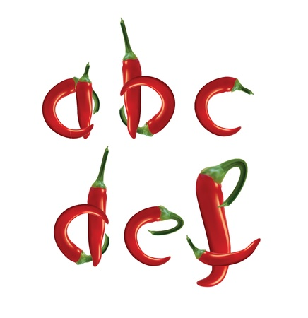 Alphabet, red hot chilli peppers. Editable vector format. Vector