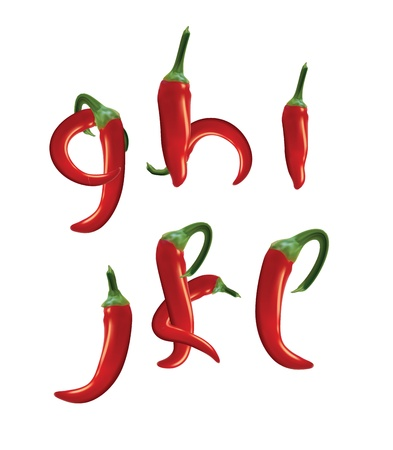 hot pepper: Alphabet, red hot chilli peppers. Editable vector format.