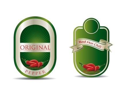 Label for a product (chilli sauce) with photo-realistic vector illustration of vegetables.