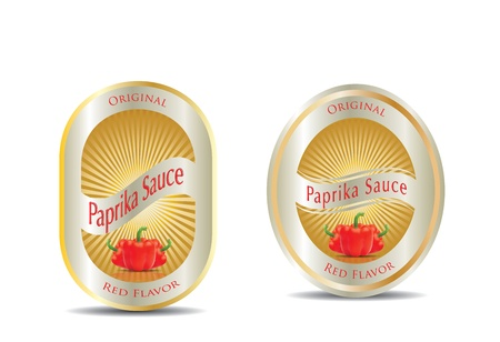 photorealistic: Label for a product (ketchup, sauce) with photo-realistic vector illustration of vegetables.