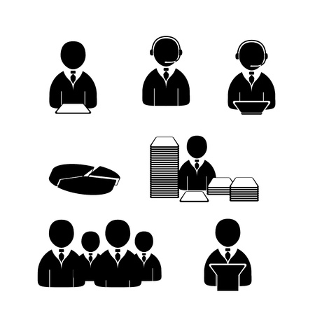 Office people icons set. Editable vector format.